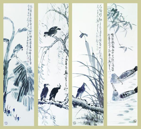 王永春作品《春,(绿萌焦雨)夏,(歌鸟声碎)秋,(荷塘情趣)冬,(轻筠�C露)》规格:138cmx69cmx2.jpg